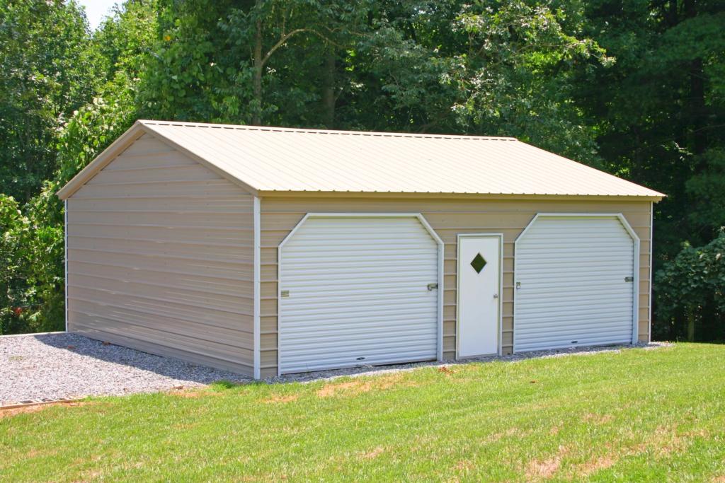 Arkansas Carports- 2 garage with door