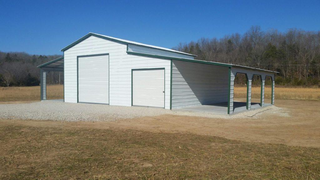 Arkansas Carports - White two car garage with lean to