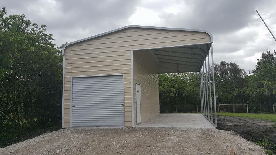 Arkansas Carports - Garage with RV cover attached