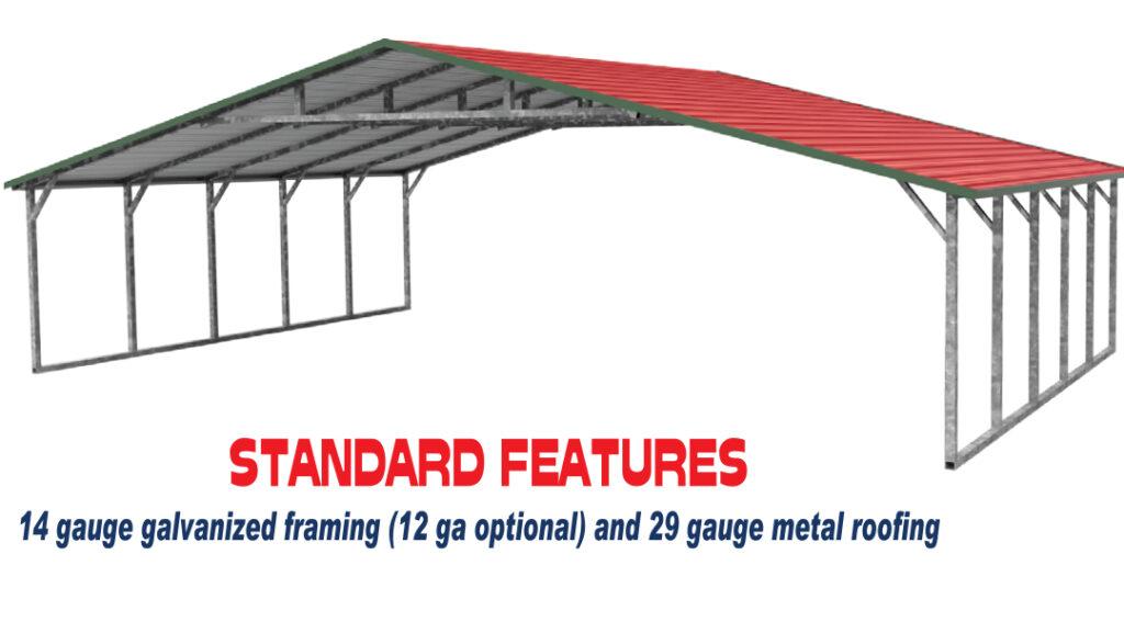 Arkansas Carports - A frame wide standard features